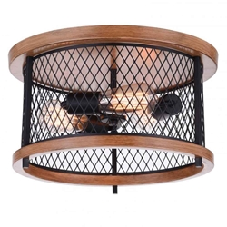 "15"" 3 Light Cage Flush Mount with Black finish"