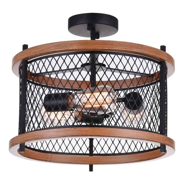 "Picture of 15"" 3 Light Cage Semi-Flush Mount with Black finish"