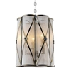 """Picture of 15"""" 3 Light Drum Shade Mini Pendant with Antique Brass finish"""