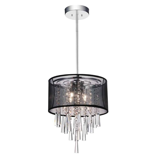 "Picture of 15"" 4 Light Drum Shade Mini Pendant with Chrome finish"
