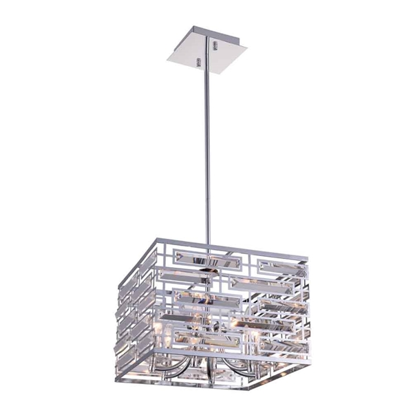 """Picture of 15"""" 6 Light Drum Shade Chandelier with Chrome finish"""