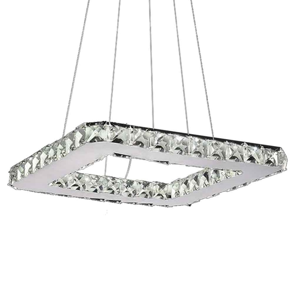 """Picture of 15"""" Anelli Modern Crystal Square Pendant Polished Chrome 20 LED Lights"""