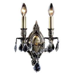 "15"" Imperatore Traditional Crystal Candle Wall Sconce Antique Brass 2 Lights"