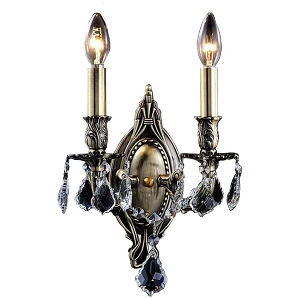 """Picture of 15"""" Imperatore Traditional Crystal Candle Wall Sconce Antique Brass 2 Lights"""