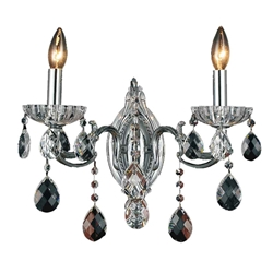 "15"" Ottone Traditional Crystal Candle Wall Sconce Polished Chrome 2 Lights"
