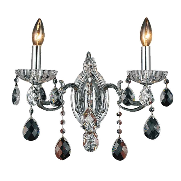 "Picture of 15"" Ottone Traditional Crystal Candle Wall Sconce Polished Chrome 2 Lights"