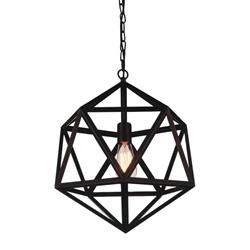 """16"""" 1 Light Down Mini Pendant with Black finish"""