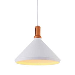 """16"""" 1 Light Down Pendant with White finish"""