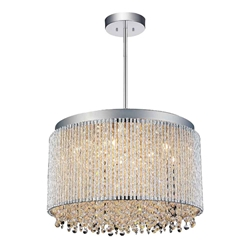 "16"" 10 Light Drum Shade Chandelier with Chrome finish"