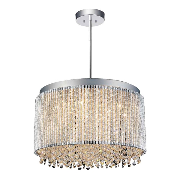 "Picture of 16"" 10 Light Drum Shade Chandelier with Chrome finish"