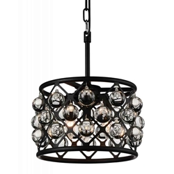 "16"" 3 Light  Chandelier with Black finish"