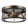 """Picture of 16"""" 3 Light Cage Flush Mount with Light Brown finish"""