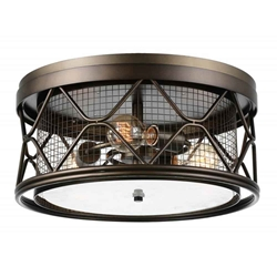 """16"""" 3 Light Cage Flush Mount with Light Brown finish"""