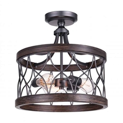 "16"" 3 Light Cage Semi-Flush Mount with Gun Metal finish"