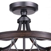 """Picture of 16"""" 3 Light Cage Semi-Flush Mount with Gun Metal finish"""