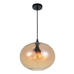 "16"" 4 Light Down Pendant with Transparent Amber finish"