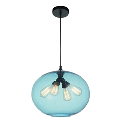 "16"" 4 Light Down Pendant with Transparent Blue finish"