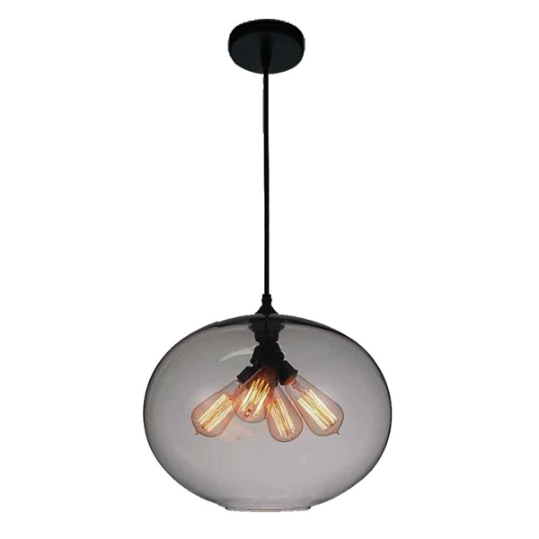 "Picture of 16"" 4 Light Down Pendant with Transparent Smoke finish"