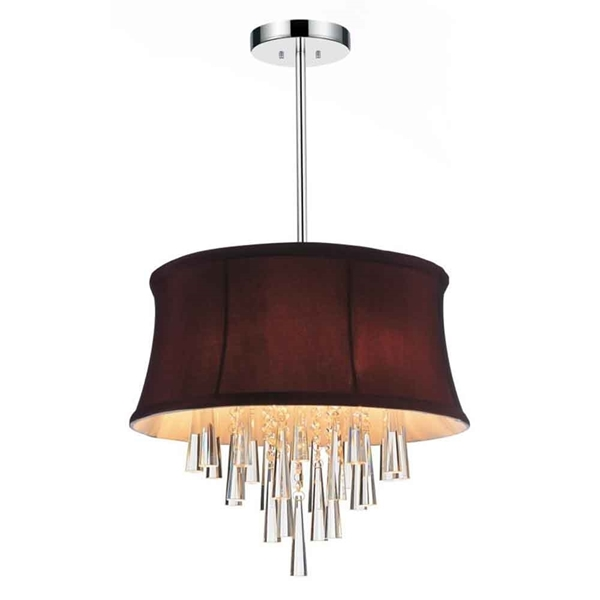 """Picture of 16"""" 4 Light Drum Shade Chandelier with Chrome finish"""