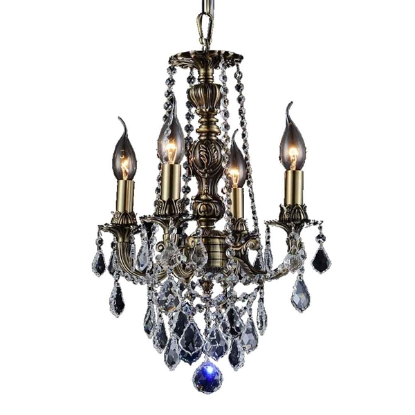 "Picture of 16"" 4 Light Up Chandelier with Antique Brass finish"