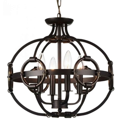"""16"""" 4 Light Up Chandelier with Brushed Golden Brown finish"""
