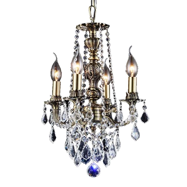 """Picture of 16"""" 4 Light Up Chandelier with French Gold finish"""