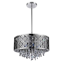 """16"""" 5 Light Drum Shade Chandelier with Chrome finish"""