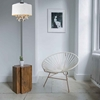 """Picture of 16"""" 5 Light Drum Shade Chandelier with White finish"""