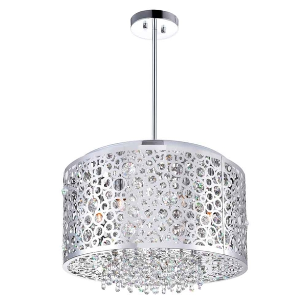 """Picture of 16"""" 6 Light Drum Shade Chandelier with Chrome finish"""