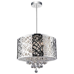 """16"""" 6 Light Drum Shade Chandelier with Chrome finish"""