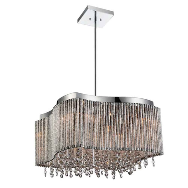 "Picture of 16"" 8 Light Drum Shade Chandelier with Chrome finish"