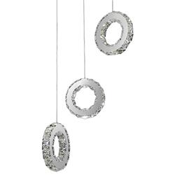 "16"" Anelli Modern Crystal Cascading Round Pendants Polished Chrome 18 LED Lights"