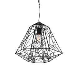 "16"" Baghera Industrial Pendant Black 1 Light"