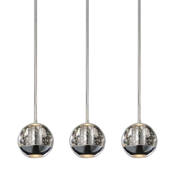 "16"" Bolle Modern Chrome Coated Crystal Linear Spherical Mini Pendants Rectangular Base 3 Lights"