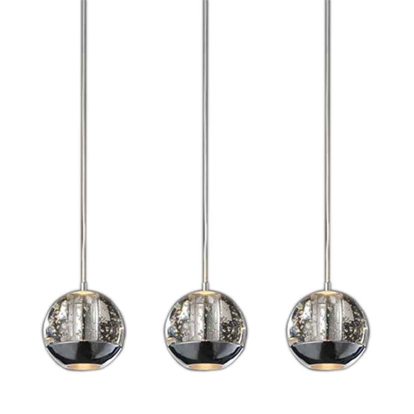 "Picture of 16"" Bolle Modern Chrome Coated Crystal Linear Spherical Mini Pendants Rectangular Base 3 Lights"