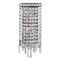 "16"" Bossolo Transitional Crystal Rectangular Square Wall Sconce Polished Chrome 4 Lights"