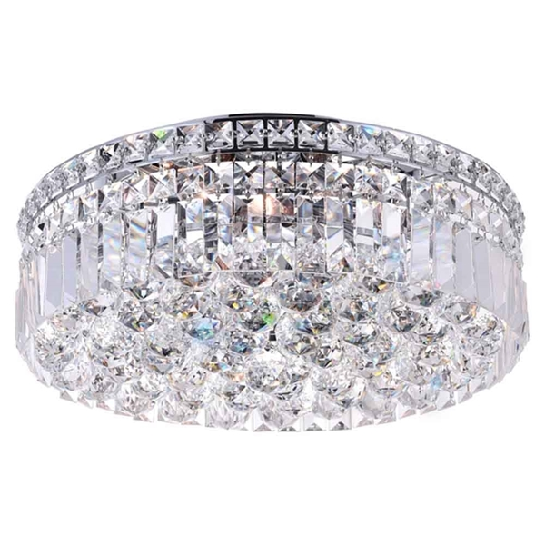 "Picture of 16"" Bossolo Transitional Crystal Round Flush Mount Chandelier Polished Chrome 5 Lights"