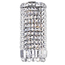 "16"" Bossolo Transitional Crystal Round Wall Sconce Polished Chrome 4 Lights"