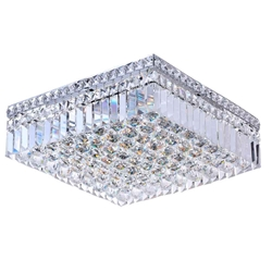 "16"" Bossolo Transitional Crystal Square Flush Mount Chandelier Polished Chrome 5 Lights"