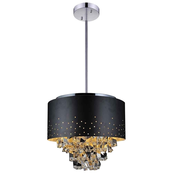 "Picture of 16"" Comodo Modern Crystal Pendant Chandelier Black Metal Shade 5 Lights"