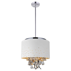 "16"" Comodo Modern Crystal Pendant Chandelier White Metal Shade 5 Lights"