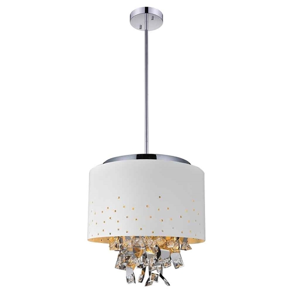 "Picture of 16"" Comodo Modern Crystal Pendant Chandelier White Metal Shade 5 Lights"