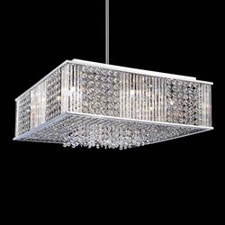 "16"" Cristallo Modern Crystal Square Pendant Chandelier Polished Chrome 8 Lights"