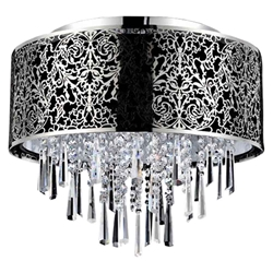"16"" Drago Modern Crystal Round Flush Mount Black Fabric Stainless Steel Shade 6 Lights"