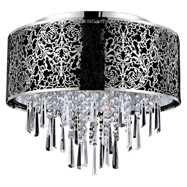 """Picture of 16"""" Drago Modern Crystal Round Flush Mount Black Fabric Stainless Steel Shade 6 Lights"""