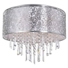 """Picture of 16"""" Drago Modern Crystal Round Flush Mount Off White Fabric Stainless Steel Shade 6 Lights"""