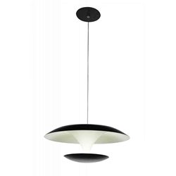 "16"" LED Down Pendant with Black & White finish"