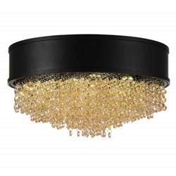 "16"" Medina Modern Crystal Round Flush Mount Black Drum Shade Champagne Crystal 7 Lights"