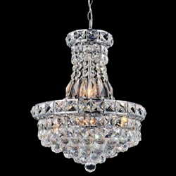 "16"" Primo Transitional Crystal Round Chandelier Chrome / Gold 6 Lights"
