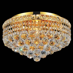 "16"" Primo Transitional Round Crystal Flush Mount Ceiling Chandelier Gold Plated 4 Lights"
